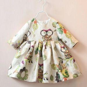Vintage Appeal Toddler Girl Owl Long Sleeve Dress